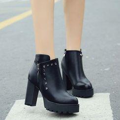Kicko - Platform Block Heel Short Boots
