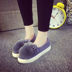 Yoflap - Faux Fur Trim Platform Sneakers