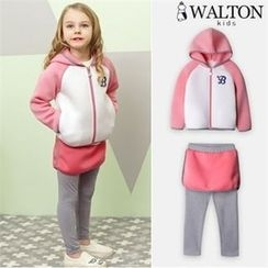 WALTON kids - Girls Set: Contrast-Sleeve Hoodie + Inset Mini Skirt Leggings