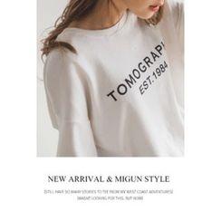 migunstyle - 3/4-Sleeve Lettering Top