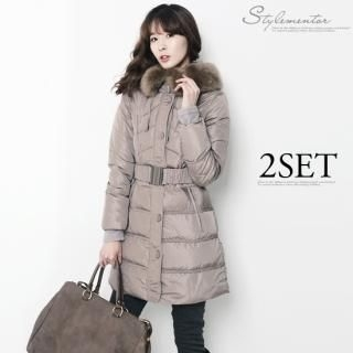 Stylementor - Detachable Faux-Fur Puffer Coat with Belt