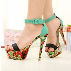 Mancienne - Floral Platform High-Heel Sandals
