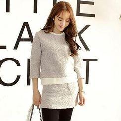 TANGYIZI - Set: Contrast-Trim 3/4-Sleeve Top + Skirt