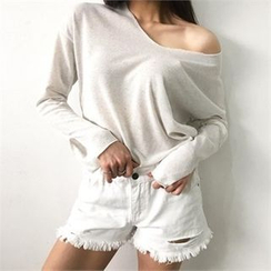 LIPHOP - Linen Blend V-Neck Knit Top