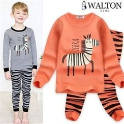 WALTON kids - Kids Set: Round-Neck Printed Top + Zebra-Pattern Pants