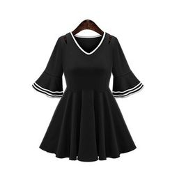 GRACI - Frilled 3/4-Sleeve Pleated Dress