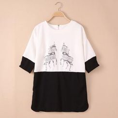 QZ Lady - Unicorn-Printed Two-Tone Long T-Shirt