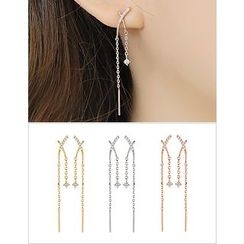 soo n soo - Rhinestone Metal-Bar Drop Earrings