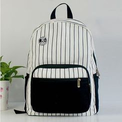 Ms Bean - Pinstripe Panel Canvas Backpack