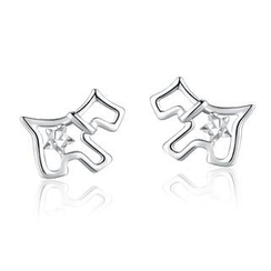 MaBelle - 14K/585 White Gold Puppy Dog Stud Earrings
