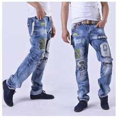 Hansel - Washed Applique Jeans