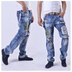 Hansel - 水洗贴布绣牛仔裤