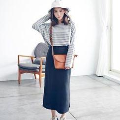 LULUS - Set: Striped Pullover + Long Skirt