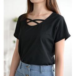 Oaksa - 交錯帶短袖T恤