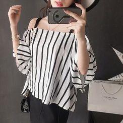 IndiGirl - Off-Shoulder Striped Top