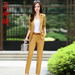 AiSun - Set: Plain Panel Blazer + Pants