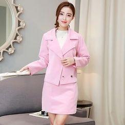 Yumerakka - 套装: 纯色西装外套 + A字短裙