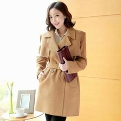 Attrangs - Double-Button Trench Coat with Sash