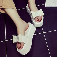 SouthBay Shoes - Bow Platform Slide Sandals