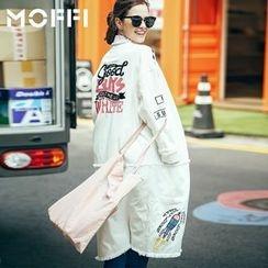 MOFFI - Embroidered Fray Hem Long Denim Jacket