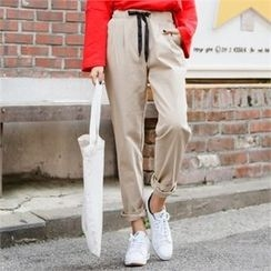 clicknme - Drawstring-Waist Cotton Tapered Pants