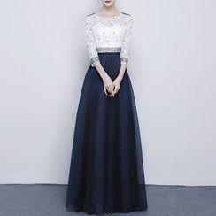 名贵风格 - 珠饰七分袖晚装裙