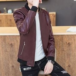 Fusuma - Faux Leather Baseball Jacket