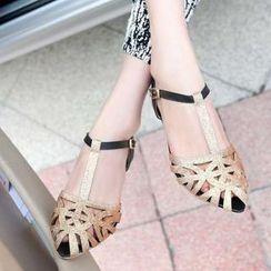 Pangmama - Glitter Kitten-Heel Sandals