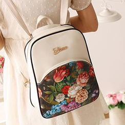 Canvas Love - Faux-Leather Floral Backpack