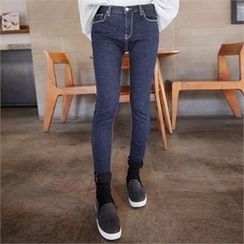 QNIGIRLS - Brushed-Fleece Lined Skinny Jeans
