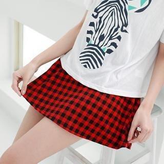 rico - Gingham A-Line Skirt