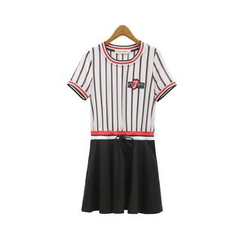 GRACI - Pinstriped Panel Short-Sleeve Dress