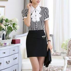 Caroe - Set: Ruffle Front Short-Sleeve Striped Shirt + Pencil Skirt