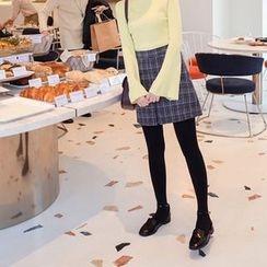 mimi&didi - Slit-Hem Plaid Wool Blend Mini Skirt