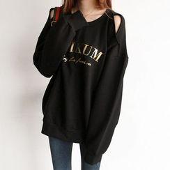 NIPONJJUYA - Cutout-Shoulder Letter Print Sweatshirt