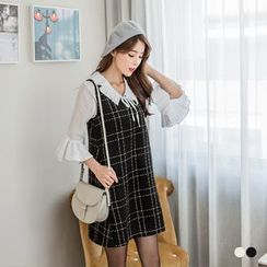 OrangeBear - Lurex Grid Woolen Shift Dress