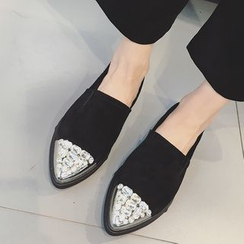 Zapatos - Genuine Leather Jeweled Loafers