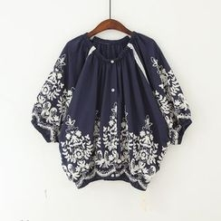11.STREET - Roses Embroidered Cotton Blouse
