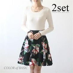 COLOR of BASIC - Set: Contrast-Trim Ribbed Top + Floral Print A-Line Skirt