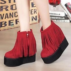 Mancienne - Fringed Wedge Ankle Boots