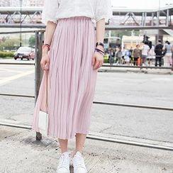 Dasim - Accordion Pleated Midi Chiffon Skirt