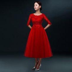 Royal Style - Sleeved Midi Wedding Dress