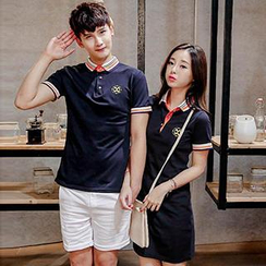 Azure - Couple Embroidered Polo Shirt / Polo Dress