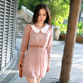 59 Seconds - Peter-Pan Collar Chiffon Dress (Belt not Included)
