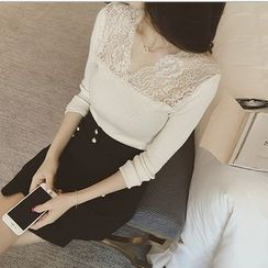 AIGIL - Long-Sleeve Lace Panel Knit Top