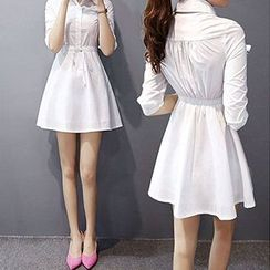 Fashion Street - 七分袖抽绳腰衬衫连衣裙
