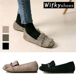 Wifky - Fringed Chain-Trim Faux-Suede Flats
