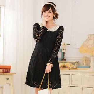 JK2 - Beaded-Collar Lace Dress