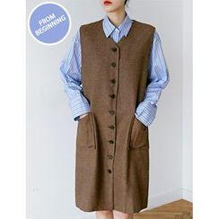 FROMBEGINNING - Button-Front Jumper Dress