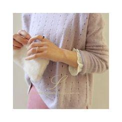 LEELIN - Wool Blend Pointelle-Knit Top